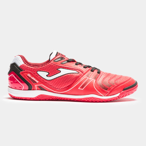 Joma Dribling Indoor Soccer Futsal Shoe, Red, Fibertec Upper, Rubber Soleplate, Side View