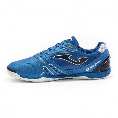 Joma Dribling Indoor Soccer Futsal Shoe, Royal, Fibertec Upper, Rubber Soleplate, Side View