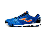 Joma Liga 5 Indoor Soccer Futsal Shoe, Blue, Synthetic Upper, Rubber Soleplate, Side View