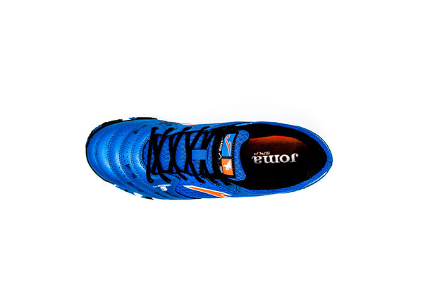 Joma Liga 5 Indoor Soccer Futsal Shoe, Blue, Synthetic Upper, Rubber Soleplate, Aerial View