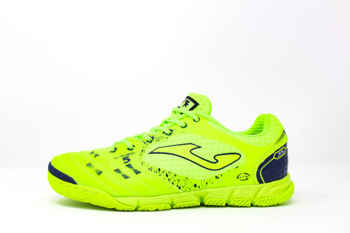 Joma Liga 5 Indoor Soccer Futsal Shoe, Fluo, Synthetic Upper, Rubber Soleplate, Side View