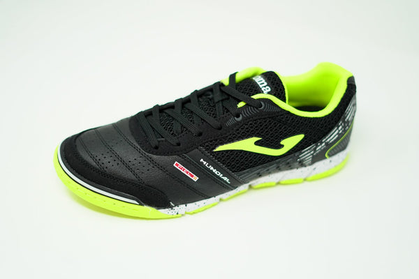 Joma Mundial Indoor Soccer Futsal Shoe, Black & Fluo, Leather Upper, Rubber Soleplate, Side View