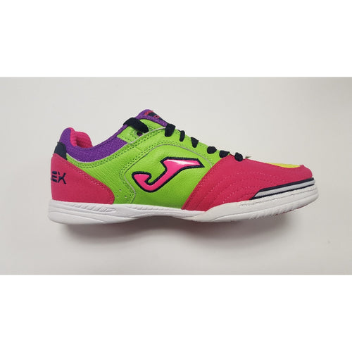 Joma Top Flex Fluo & Pink Indoor Soccer Futsal Shoe, Rubber Soleplate, Side View