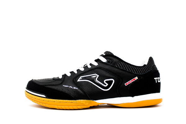 Joma Top Flex Indoor Soccer Futsal Shoe, Black & White, Leather Upper, Rubber Soleplate, Side View