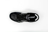 Joma Top Flex Indoor Soccer Futsal Shoe, Black & White, Leather Upper, Rubber Soleplate, Aerial View