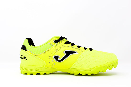 Joma Top Flex TF Soccer Cleat, Lemon, Leather Upper, Rubber Studs, Side View
