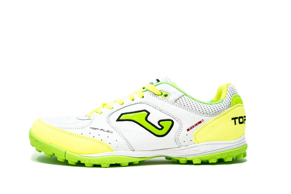 Joma Top Flex TF Soccer Cleat, White & Fluo, Synthetic Upper, Rubber Studs, Side View