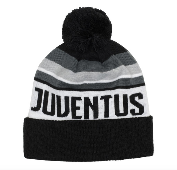 Juventus Knitted POM Beanie, Black & White, Front View