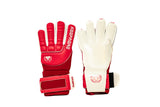 Keepaere Campo Finger Save Goalkeeper Gloves, Red & White, Roll-Finger & Flat Cut, Finger Protection