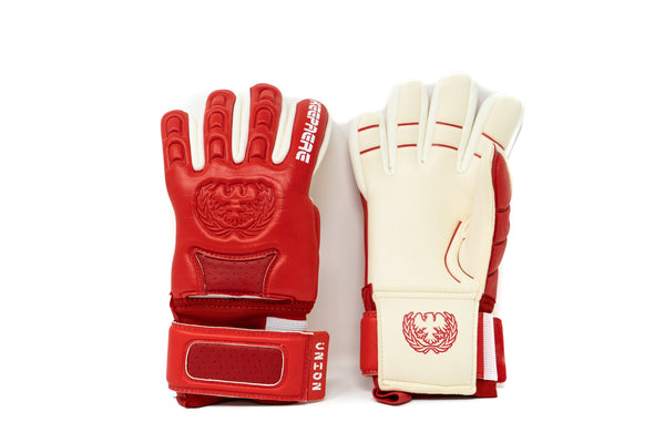 Keepaere Union Goalkeeper Gloves, Red, Negative Cut, Finger Protection