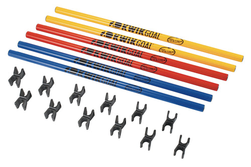 KwikGoal Coaching Stick Hurdles in Blue, Yellow and Red, Black Swivel Clips