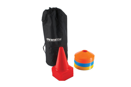 KwikGoal Cone & Carry Pack, Black Bag, Small Cones, Orange Practice Cones