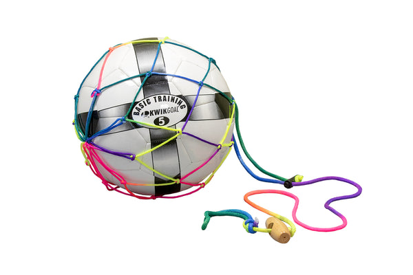 KwikGoal Kwik Kicker, Multi-Colored Netting, Wooden Handle, Toggle Drawstring