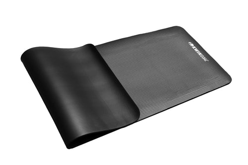 picture of a black stretching mat on a white background