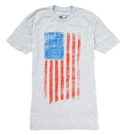 LBF Field USA Flag T-Shirt, Short Sleeve, White
