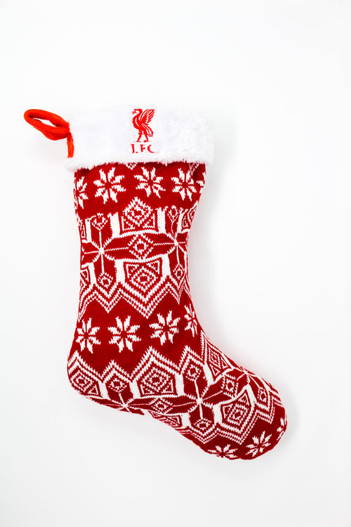 Liverpool Knit Christmas Stocking, Red & White