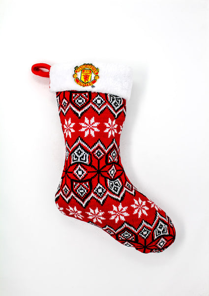Manchester United Knit Christmas Stocking, Red & White