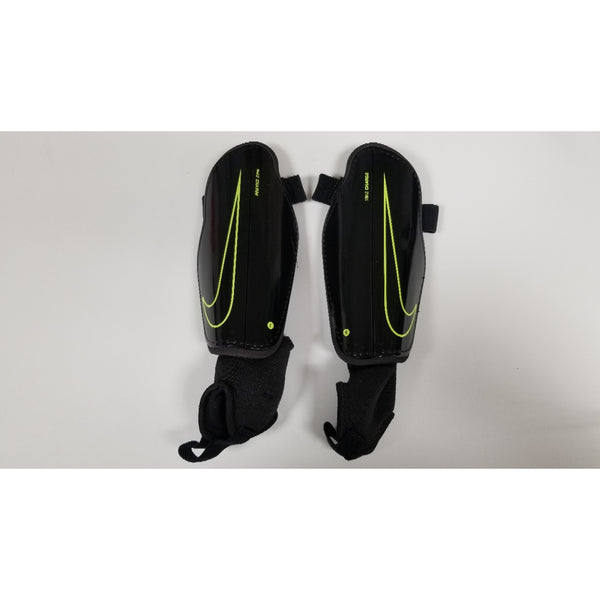 Nike Charge Youth Shin Guards, Black & Volt, Front View