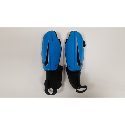 Nike Charge Youth Shin Guards, Blue & Black, Front View