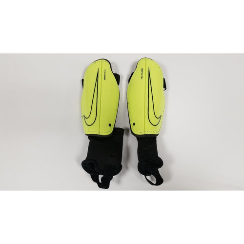 Nike Charge Youth Shin Guards, Volt & Black, Front View