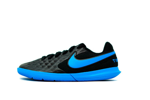Nike Youth Tiempo Legend 8 Club Indoor Soccer Futsal Shoe, Black & Blue, Synthetic Upper, Rubber Soleplate, Side View