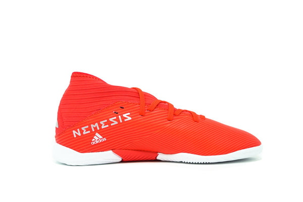 Adidas Youth Nemeziz 19.3 Indoor Soccer Futsal Shoe, Red, Synthetic Upper, Rubber Soleplate, Side View