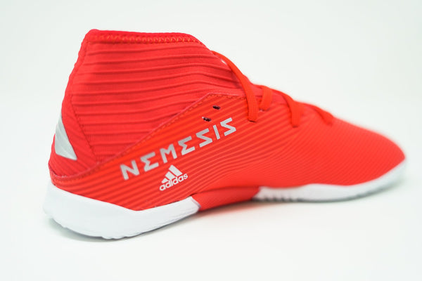 Adidas Youth Nemeziz 19.3 Indoor Soccer Futsal Shoe, Red, Synthetic Upper, Rubber Soleplate, Heel View