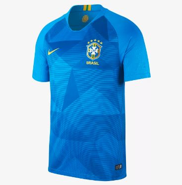 Nike Brazil World Cup 2018 Away Replica Soccer Jersey, Short Sleeve, Blue