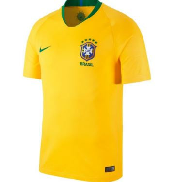 Nike Brazil World Cup 2018 Home Replica Soccer Jersey, Short Sleeve, Yellow