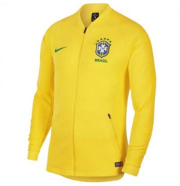 Nike Brazil World Cup 2018 Track Jacket, Short Sleeve, Yellow, Front View