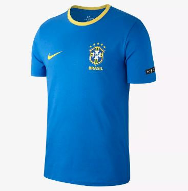 Nike Brazil World Cup 2018 T-Shirt, Short Sleeve, Blue, Front View