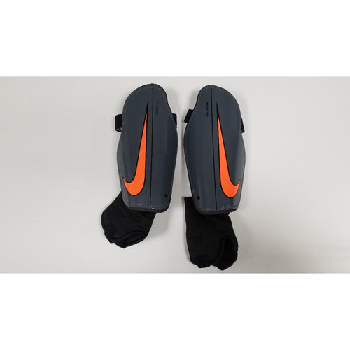 Nike Charge Shin Guards, Grey & Black, Front View