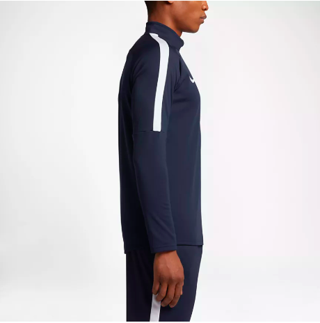 Nike navy ¼ zip top with white lines on the shoulder