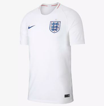 Nike England World Cup 2018 Home Replica Soccer Jersey, Short Sleeve, White, Front View