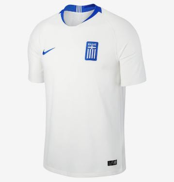 Nike Greece World Cup 2018 Home Replica Soccer Jersey, Short Sleeve, White & Blue, Front View