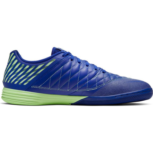 Nike Lunar Gato II Indoor Soccer Futsal Shoe, Blue, Leather Upper, Rubber Soleplate, Side View