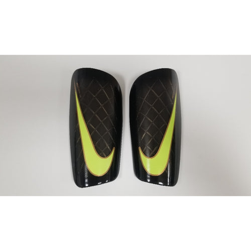 Nike Mercurial Lite Shin Guards, Black & Lime, Front View