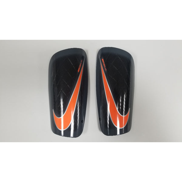 Nike Mercurial Lite Shin Guards, Grey & Orange, Front View