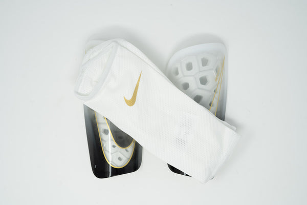 Nike Mercurial Lite Shin Guards, White & Gold