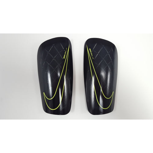Nike Mercurial Lite Shin Guards, Black & Volt, Front View