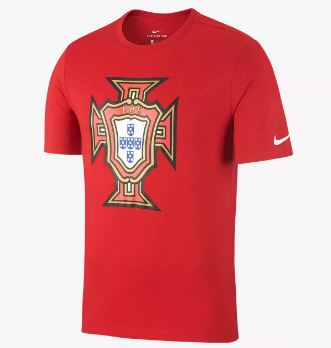 Nike Portugal World Cup 2018 Crest T-Shirt, Short Sleeve, Red, Front View