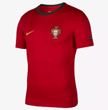 Nike Portugal World Cup 2018 T-Shirt, Short Sleeve, Dark Red, Front View