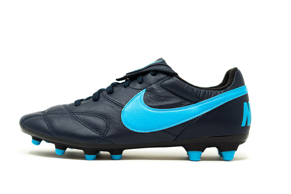 Nike Premier II FG Soccer Cleat, Black & Blue, K-Leather Upper, 12 Conical Studs, Side View