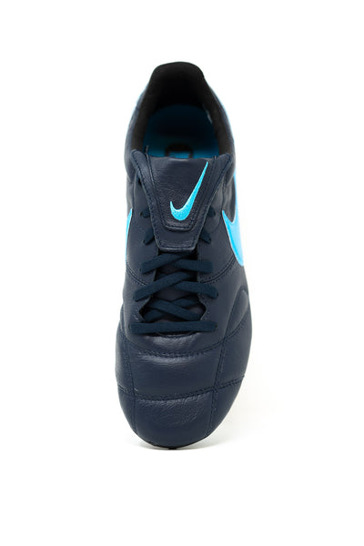Nike Premier II FG Soccer Cleat, Black & Blue, K-Leather Upper, 12 Conical Studs, Aerial View