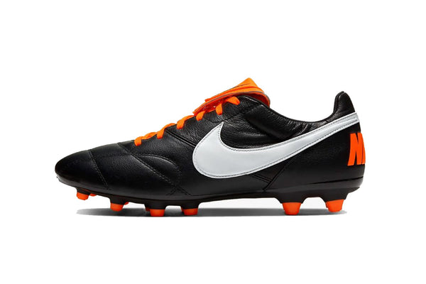 Nike Premier II FG Soccer Cleat, Black & Orange, K-Leather Upper, 12 Conical Studs, Side View