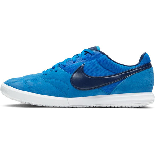 Nike Premier II Sala Indoor Soccer Futsal Shoe, Royal, Suede, Rubber Soleplate, Side View