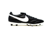 Nike Premier Black FG Soccer Cleat, Leather Upper, 12 Conical Studs, Side View