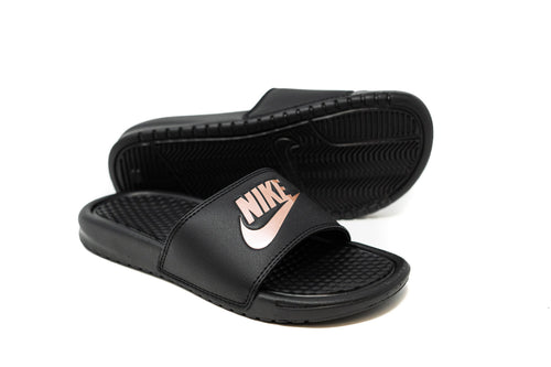 Nike Women's Benassi JDI Slide, Black & Rose Gold