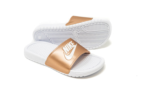 Nike Women's Benassi JDI Slide, White & Bronze