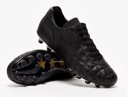 Pantofola d'Oro Del Duca Vitello Soccer Cleat, Black, Calf Leather Upper, Side View